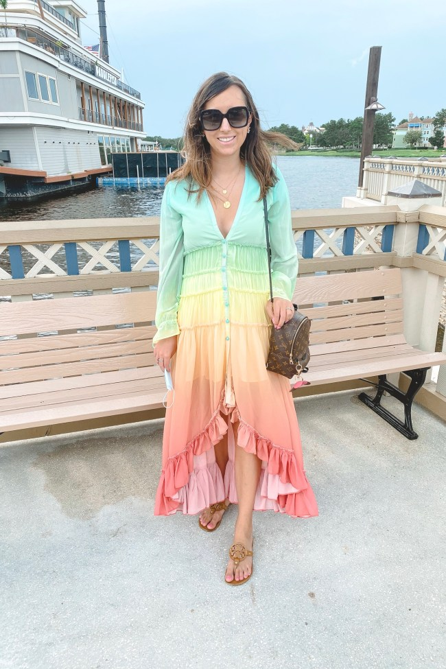 chicwish rainbow dress with louis vuitton palm springs mini and tory burch sandals