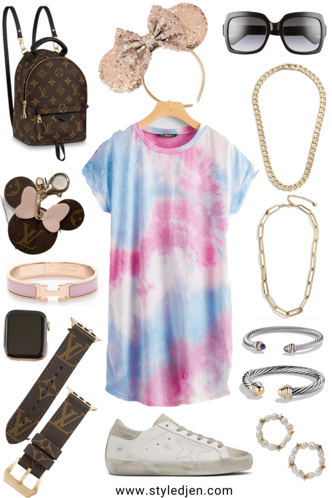 what to wear to Disney in the summer shein tie dye tshirt dress with mouse ears and accessories