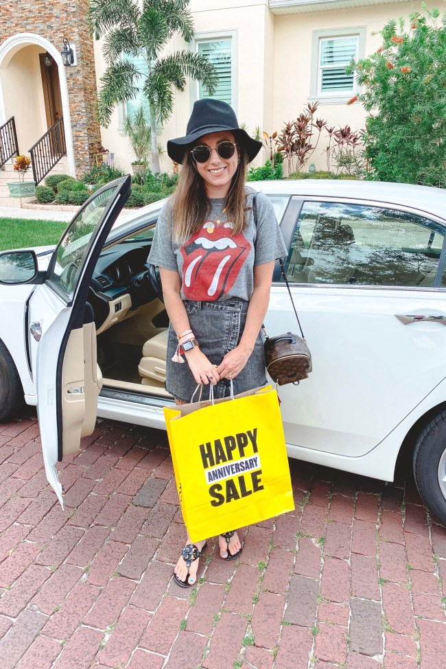rolling stones tee with brixton hat and nsale bag