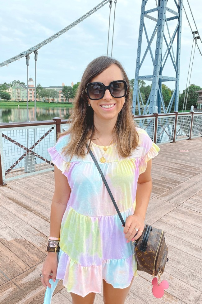 shein tie dye peplum top with gucci sunglasses and louis vuitton palm springs mini