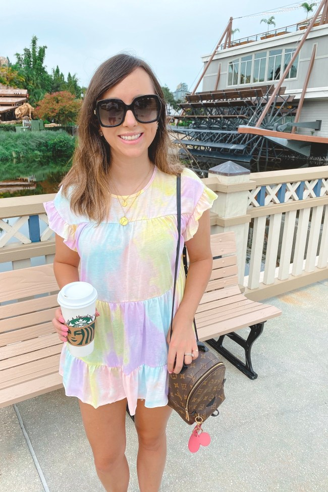 shein tie dye peplum top with louis vuitton palm springs mini and gucci sunglasses