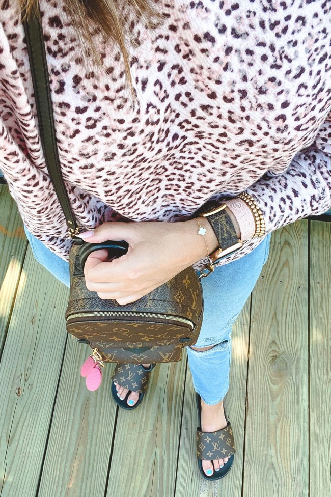louis vuitton apple watch band with pink chanel bracelet and louis vuitton palm springs mini