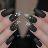 Black Acrylic Nail Designs Choice Image