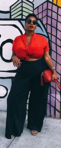 30 Fashion plus size outfit with black pants 4