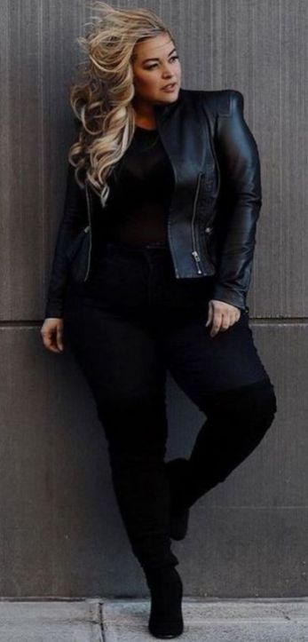 30 Fashion plus size outfit with black pants 5