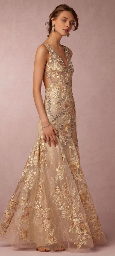 20 Gold Prom Dresses Flower ideas 4