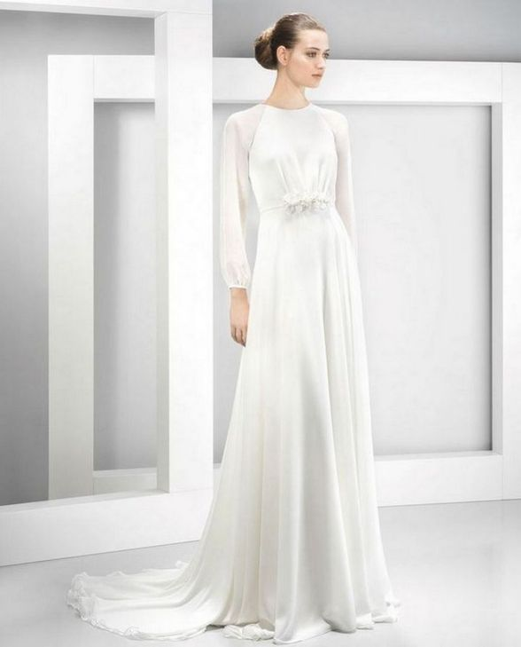 27 Simple White Long Sleeve Wedding Dresses ideas 14