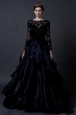 30 Black Long Sleeve Wedding Dresses ideas 1