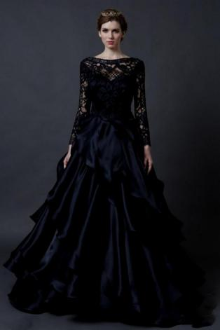 30 Black Long Sleeve Wedding Dresses ideas 1