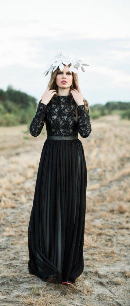 30 Black Long Sleeve Wedding Dresses ideas 18