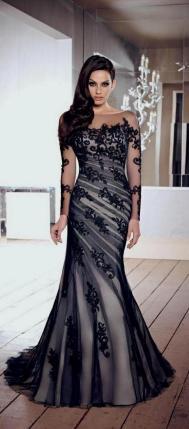 30 Black Long Sleeve Wedding Dresses ideas 20