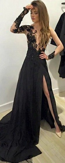 30 Black Long Sleeve Wedding Dresses ideas 22