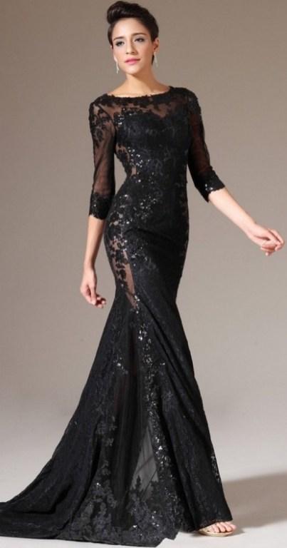 30 Black Long Sleeve Wedding Dresses ideas 23