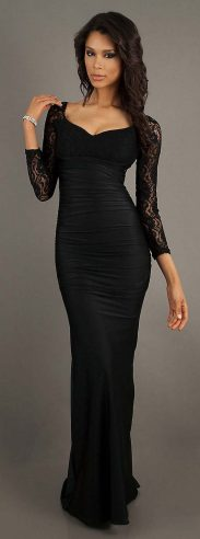 30 Black Long Sleeve Wedding Dresses ideas 27