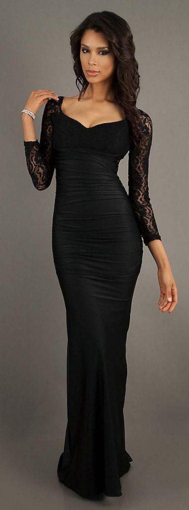 30 Black Long Sleeve Wedding Dresses ideas 27