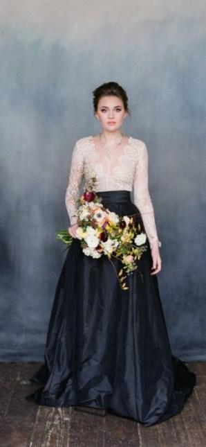 30 Black Long Sleeve Wedding Dresses ideas 5 1