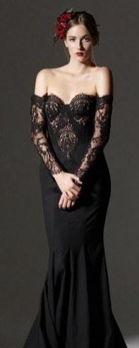 30 Black Long Sleeve Wedding Dresses ideas 5