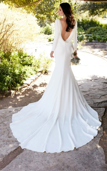 40 High Low Long Sleeve Modern Wedding Dresses Ideass 34