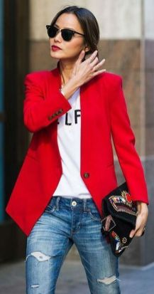 40 Womens red blazer jackets ideas 2