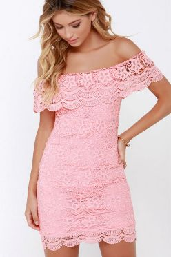 Classy evening shoulder lace dress for all special events 10