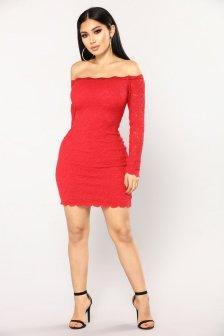 Classy evening shoulder lace dress for all special events 42