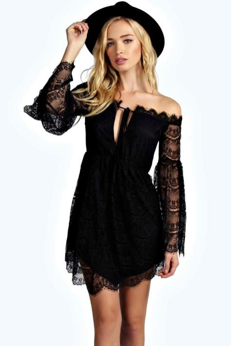 Classy evening shoulder lace dress for all special events 45