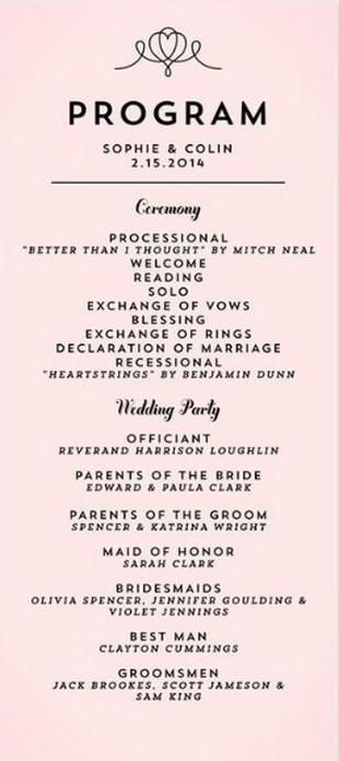 Simple Wedding Reception Program Sample Ideas 10