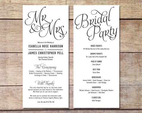 Simple Wedding Reception Program Sample Ideas 15