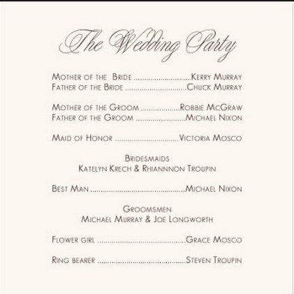Simple Wedding Reception Program Sample Ideas 9