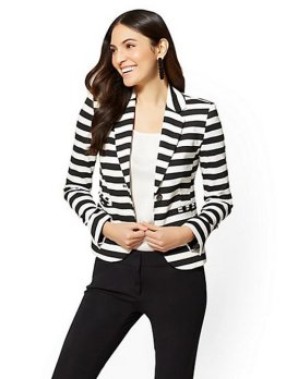 black and white striped blazer womens 11