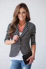 black and white striped blazer womens 13