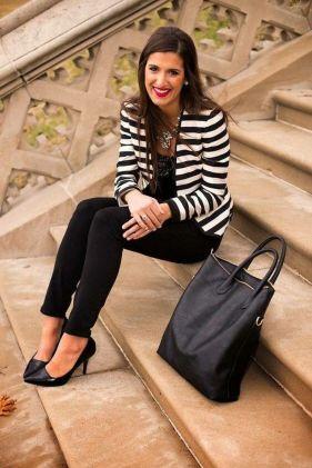 black and white striped blazer womens 16