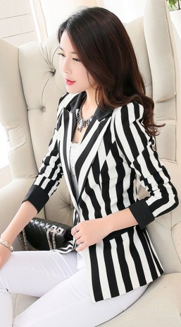 black and white striped blazer womens 22
