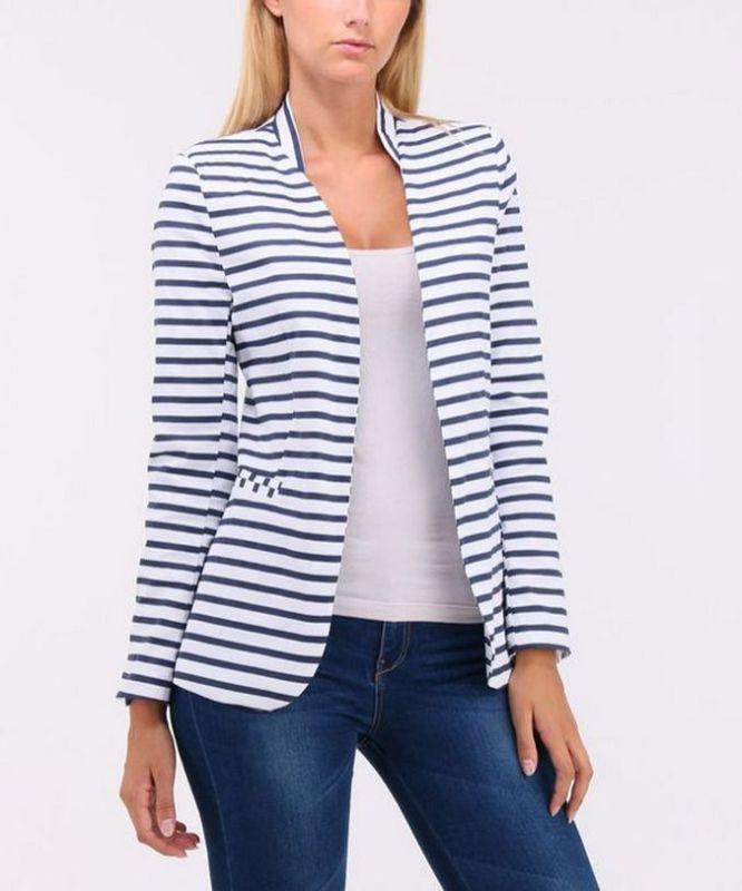 black and white striped blazer womens 26