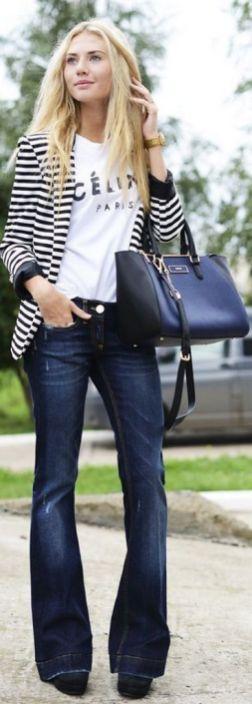 black and white striped blazer womens 3