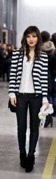 black and white striped blazer womens 34