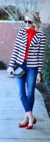 black and white striped blazer womens 35