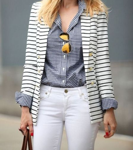 black and white striped blazer womens 41