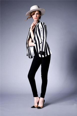 black and white striped blazer womens 47
