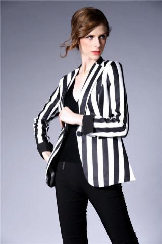 black and white striped blazer womens 48