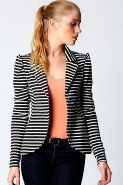 black and white striped blazer womens 8