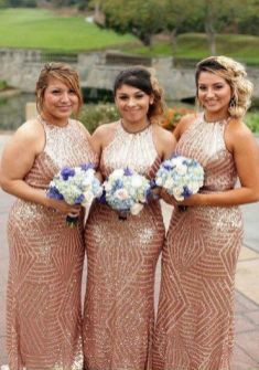40 Bridesmaid with Mermaid Dresses to Copy Ideas 4