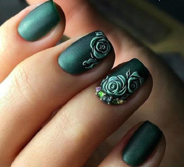 40 Chic Green Nail Art Ideas 10