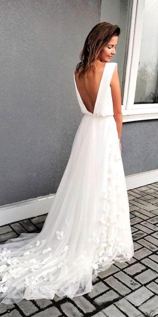 40 Deep V Open Back Wedding Dresses Ideas 16