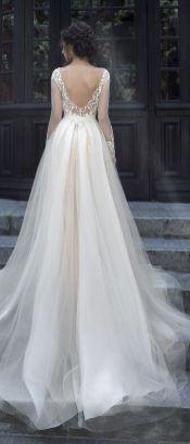 40 Deep V Open Back Wedding Dresses Ideas 20