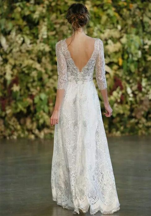 40 Deep V Open Back Wedding Dresses Ideas 4