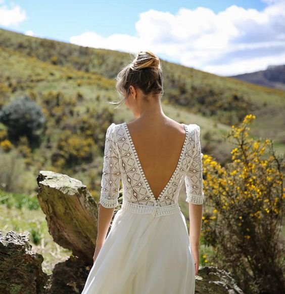 40 Deep V Open Back Wedding Dresses Ideas 44