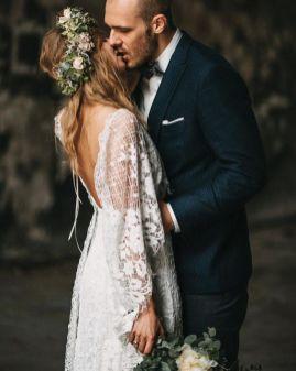 40 Deep V Open Back Wedding Dresses Ideas 7