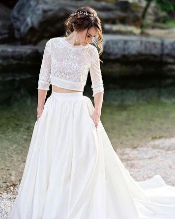 40 Einfache Crop Top Brautkleider Ideen 6