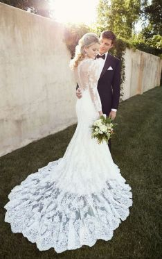 40 Fit and Flare With Long Train Wedding Dresses Ideas 11